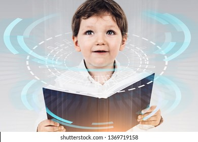 Adorable little boy holding open book over gray background with immersive HUD interface. Concept of online education and intelligence. Toned image double exposure