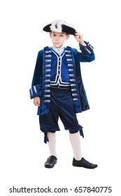 Adorable little boy wearing blue musketeer costume. Isolated on white