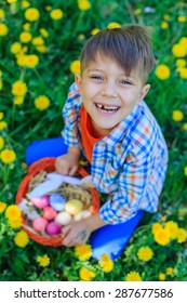 Adorable little boy wearing bunny ears playing with Easter eggs in blossoming dandelion on spring day