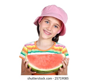 Adorable little girl with a big piece of watermelon on a white background