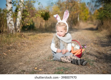 Adorable little girl in bunny costume