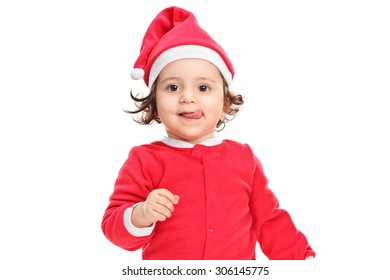 Adorable little girl in Christmas costume isolated on white background
