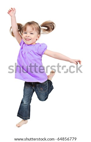 Adorable little girl jumping in air. isolated on white background