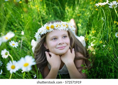 Adorable little girl in a meadow with wild summer flowers