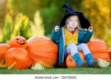 Adorable little girl wearing halloween costume having fun on a pumpkin patch