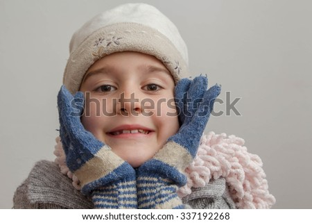 80c74318f Adorable Little Girl Wearing Winter Hat Stock Photo (Edit Now ...