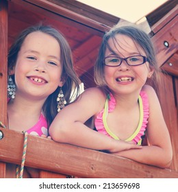 Adorable little girls outdoors in Summer - instagram effect