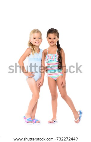 0598a6fb601ac Adorable Little Girls Swimsuits Smiling Camera Stock Photo (Edit Now ...