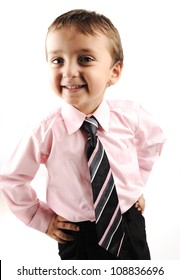Adorable little kid wearing a suite