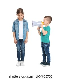 Adorable little kids with megaphone on white background