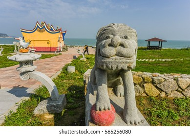 Adorable Mazu(Tianhou) Temple with Lovely Imperial Guardian Lions and Chinese Crested Terns Statue in the Front, Beigan, Matsu, Taiwan