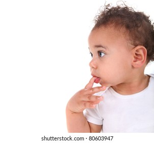 Adorable Mixed Race Baby Toddler Boy on White