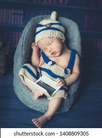 Adorable newborn baby sleeping in cozy room. Cute happy infant baby portrait with sleepy face in bed. Soft focus at the baby eyes. Newborn nursery care and baby lullaby concept.