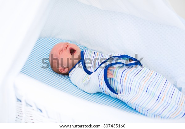 Adorable newborn baby sleeping swaddled in white bed. New born boy taking a nap in blue crib. Kids sleep. Swaddling for infants. Little kid wrapped in warm blanket relaxing in crib with canopy.