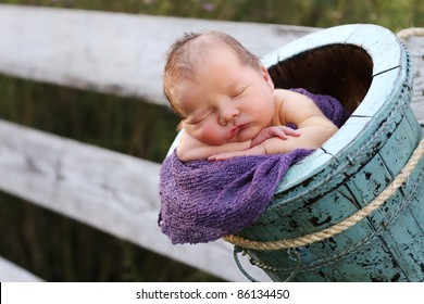 Adorable newborn in a bucket, outside hanging on a fence