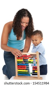 Adorable One Year Old African American Boy Playing Wooden Abacus with Mom Isolated