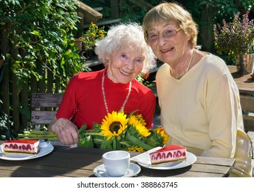 Adorable pair of senior women smiling and enjoying slices of pie on table in outdoor cafe during summer.