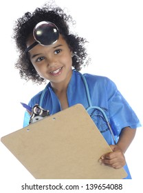 """An adorable preschool """"doctor"""" looking up from her clipboard.  On a white background."""