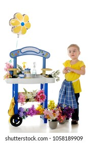 An adorable preschooler looking pleased while holding a wad of money by her flower-vending stand.  The stand's signs are left blank for your text.  On a white background.