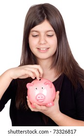 Adorable preteen girl with moneybox isolated on white background