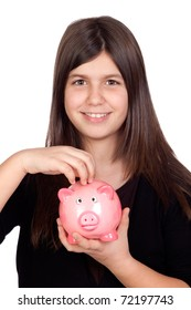 Adorable preteen girl with a piggy-bank isolated on white background