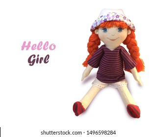 Adorable red hair textile doll in panama hat. Funny girl. Handmade. Interior doll on white background. There is a place for text. Perfect for birthday invitation, greeting cards. - Image