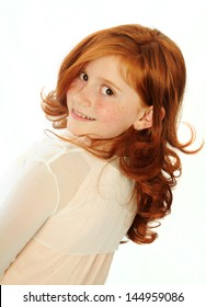 Adorable red haired teen girl portrait isolated on white background