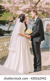 Adorable romantic newlywed couple holding their hands on terrace in sunny garden