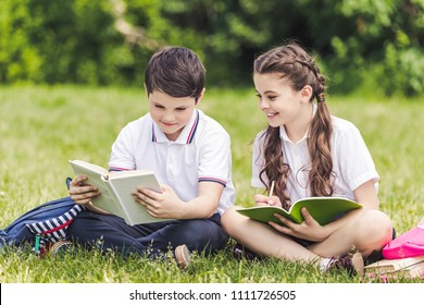 adorable schoolchildren doing homework together while sitting on grass in park
