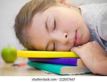 Adorable schoolgirl sleeping on her books