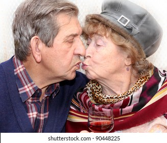 adorable senior couple kissing