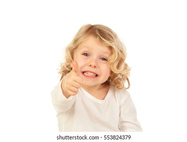 Adorable small blond child saying Ok isolated on white background