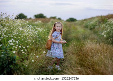 e80ec06eaf6 Adorable small girl with a long blond hair in a simple dress holding daisy  flowers and