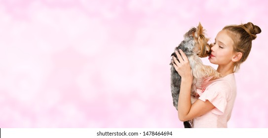 Adorable smiling happy little girl child playing with puppy yorkshire terrier isolated