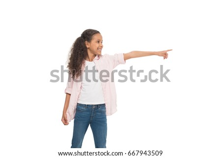 f92527275c32c Adorable Smiling Little Girl Pointing Away Stock Photo (Edit Now ...