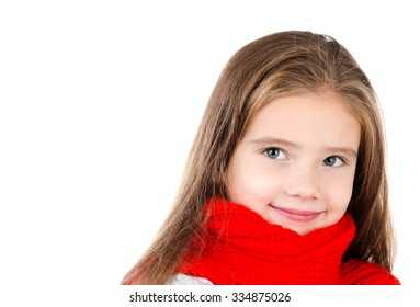 Adorable smiling little girl in red scarf isolated on white background
