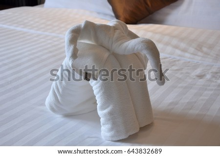 Adorable Standing Elephant Folding Towel Origami Stock Photo Edit