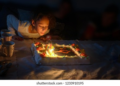 Black Girl Blowing Out Birthday Cake Candle Stock Photos Images