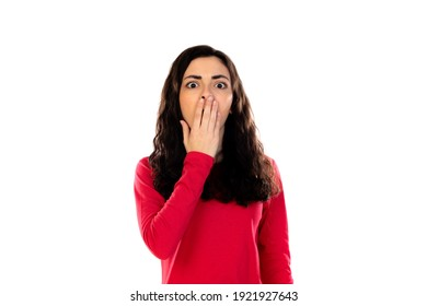 Adorable teenage girl with red sweater isolated on a white background