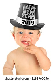 Adorable ten month old baby boy wearing a Happy New Year hat. 2019