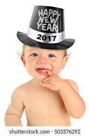 Adorable ten month old baby boy wearing a Happy New Year hat. 2017