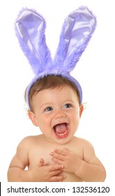 Adorable ten month old Easter bunny baby.