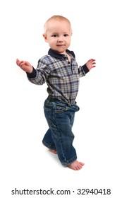 Adorable Toddler Boy Walking Sideways on White Background