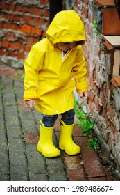 Adorable toddler boy in yellow raincoat and yellow boots playing in the garden on rainy day