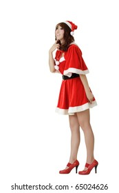 Adorable young girl in Santa Claus clothes, isolated over white.