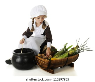 An adorable young pilgrim girl preparing vegetables for the first Thanksgiving.  On a white background.