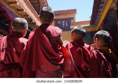 Adorable young tibetan Buddhist monks at a Lamayuru Monastery, Ladakh
