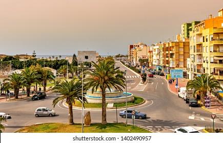 Adra, Spain. Circa March 2019. Cityscape of Adra on the Mediterranean coast of Spain.