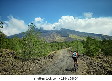 ADRANO, ETNA PARK, SICILY, ITALY - AUGUST 25, 2018: a mountain biker is riding on a dirt road along the slopes leading to the tree line
