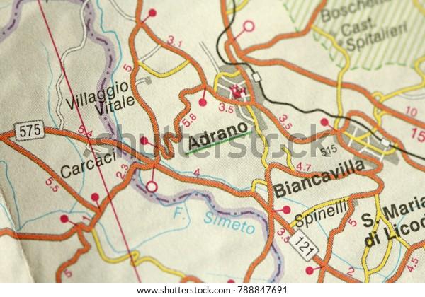 Adrano Map Islands Sicily Italy Stock Photo (Edit Now) 788847691